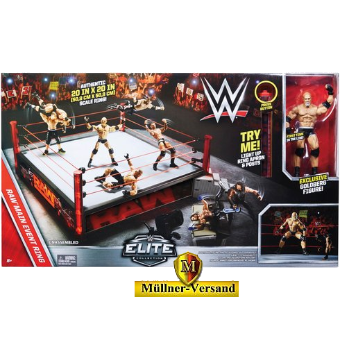 WWE Elite Raw Elite Scale Ring mit Goldberg Figur