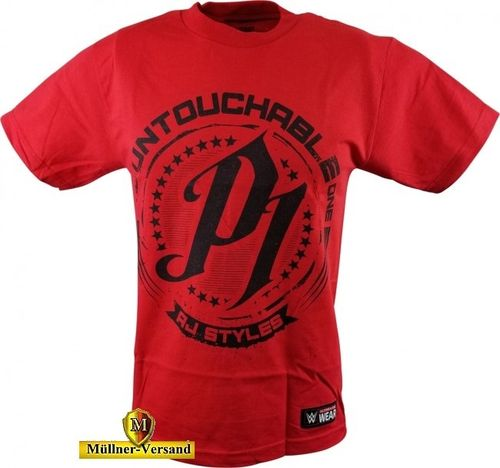 "AJ Styles ""Untouchable"" Red T-Shirt"