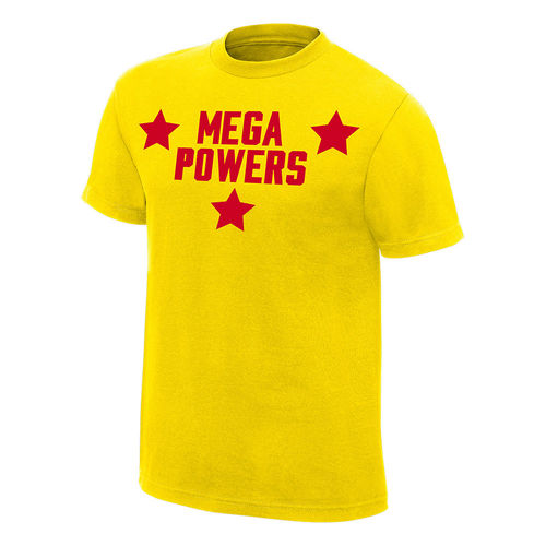 HULK HOGAN MACHO MAN RANDY SAVAGE MEGA POWERS Gelbes T-SHIRT