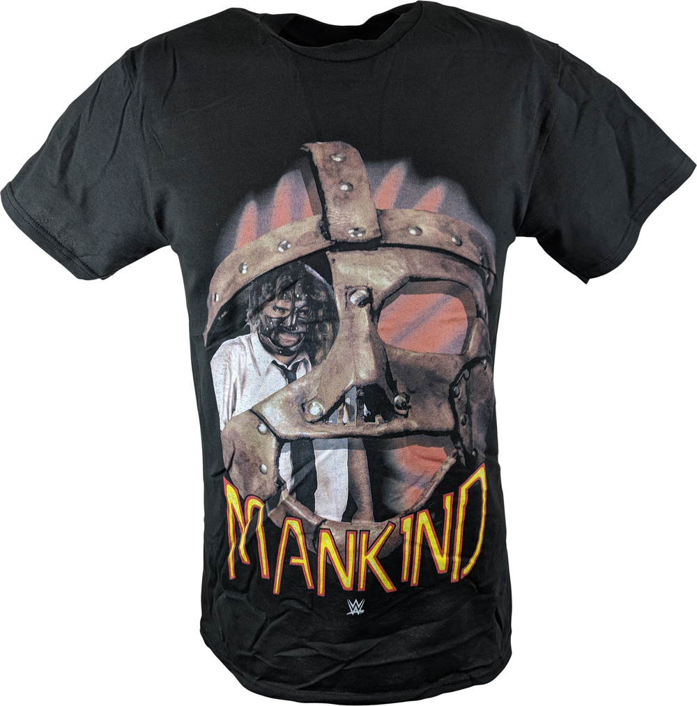 WWE MANKIND MICK FOLEY ROUND MASK MENS BLACK T-SHIRT